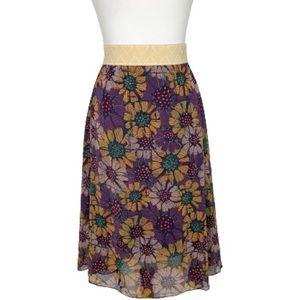 Lularoe Purple Sunflower Lola Skirt Size Small